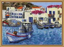 Набор для вышивания нитками на белой канве Утро в гавани