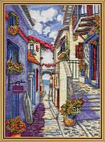 Набор для вышивания нитками на белой канве Улочка к морю