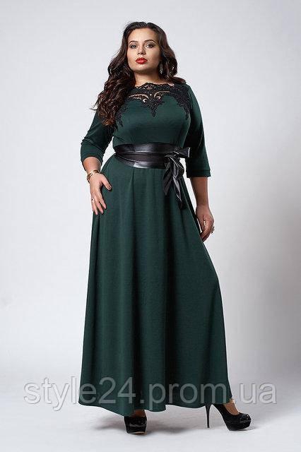 Довге плаття з кружевом та шкіряним поясом великих розмірів (52-56 ... d4acd230a4761