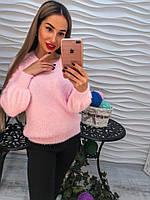 Стильный теплый свитер с ангорки розового цвета с жемчугом в виде лучиков.