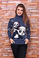 Теплый свитер женский вязаный под горло с рисунком p.44-48 B30-11