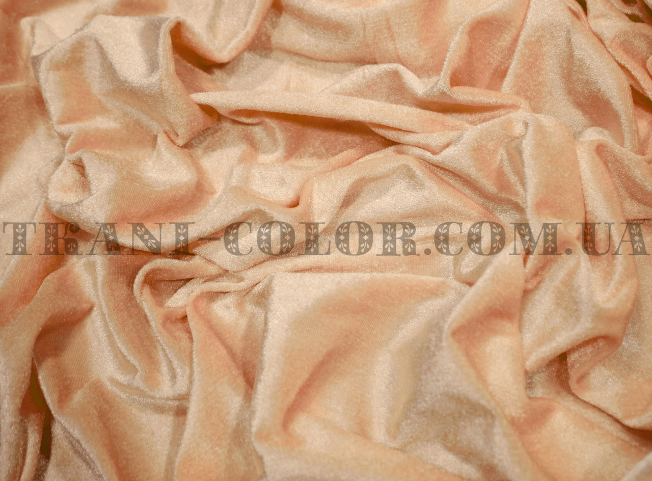 Велюр стрейчевый персиковый