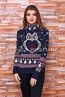 Теплый свитер женский вязаный под горло с рисунком p.44-48 B30-13