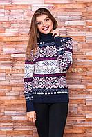 Теплый свитер женский вязаный под горло с орнаментом p.44-48 B31-2