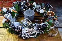 """Новогодний и рождественский венок """"Шикарный серебрянный"""""""