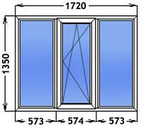 Окно трех створчатое одна створка поворотно откидная. Одно камерный стекло пакет. Профиль Windom ECO