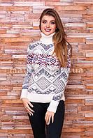 Теплый свитер женский вязаный под горло с орнаментом p.44-48 B31-3