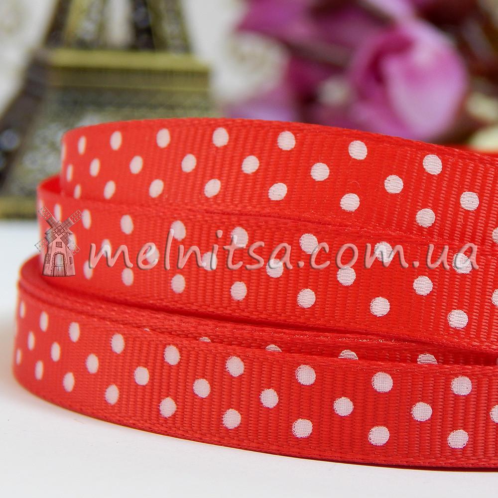 Лента репсовая красная в горошек, 9 мм