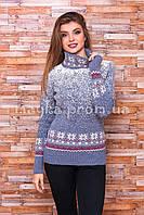 Теплый свитер женский вязаный под горло с орнаментом p.44-48 B31-6