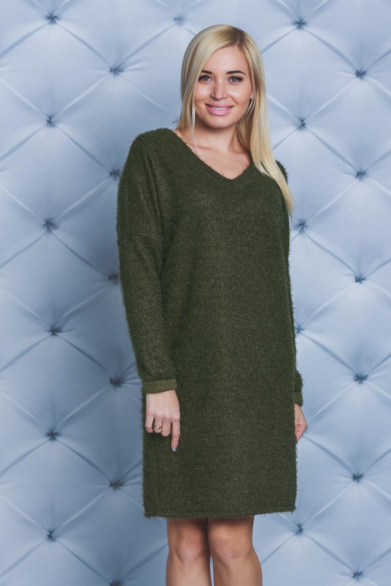 Платье короткое травка хаки