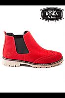 Женские красные замшевые ботинки