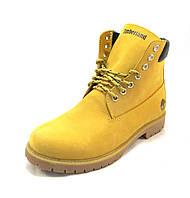 Ботинки женские Timberland кожаные с мехом желтые  (р.37,38,39,40,41)