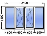Окно 4- створчатое две створки поворотно откидные. Одно камерный стекло пакет. Профиль Windom ECO