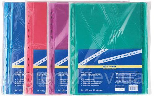 Файлы А4 40мк 100шт цветные BUROMAX