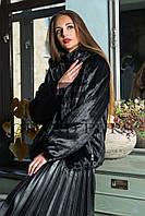 Женский полушубок из эко меха Tissavel(Франция)  030 черный с капюшоном 42-54рр