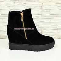 """Замшевые зимние женские ботинки на платформе. ТМ """"Maestro"""", фото 1"""