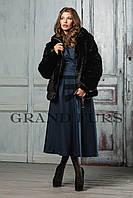 Женский полушубок из эко меха Tissavel(Франция) 034 черный автоледи 42-54рр