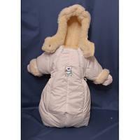 Детский комбинезон трансформер для новорожденных зимний (белый)