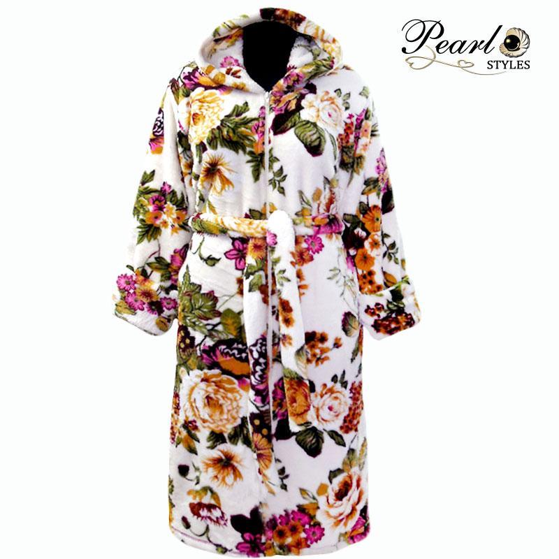 Халат домашний теплый банный махровый в цветах с папюшеном