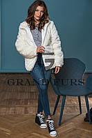 Женский полушубок из эко меха Tissavel(Франция) 034 белый автоледи 42-54рр