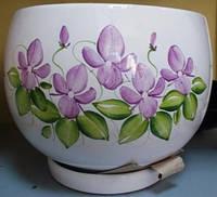 Горщик керамічний з квітками 18х15