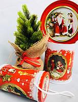 Новогодняя коробка с крышкой из жести D14,7х19 см, Ретро, Новогодняя упаковка, Днепр