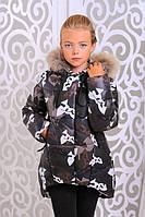 Стильная зимняя куртка на девочку с натуральным мехом енота