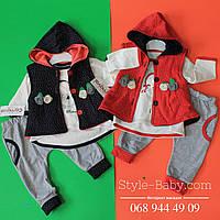 Нарядный костюм тройка для девочки Розы (жилетка, кофточка, штанишки) размер  9-12-18 месяцев