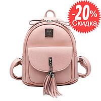 Рюкзак женский кожаный городской с кисточками (розовый)