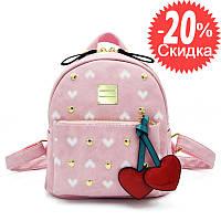 Рюкзак женский кожаный городской для девочек, девушек Вишенки (розовый)
