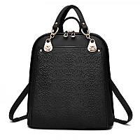 Рюкзак женский городской для девочек, девушек с цветочным орнаментом (черный)