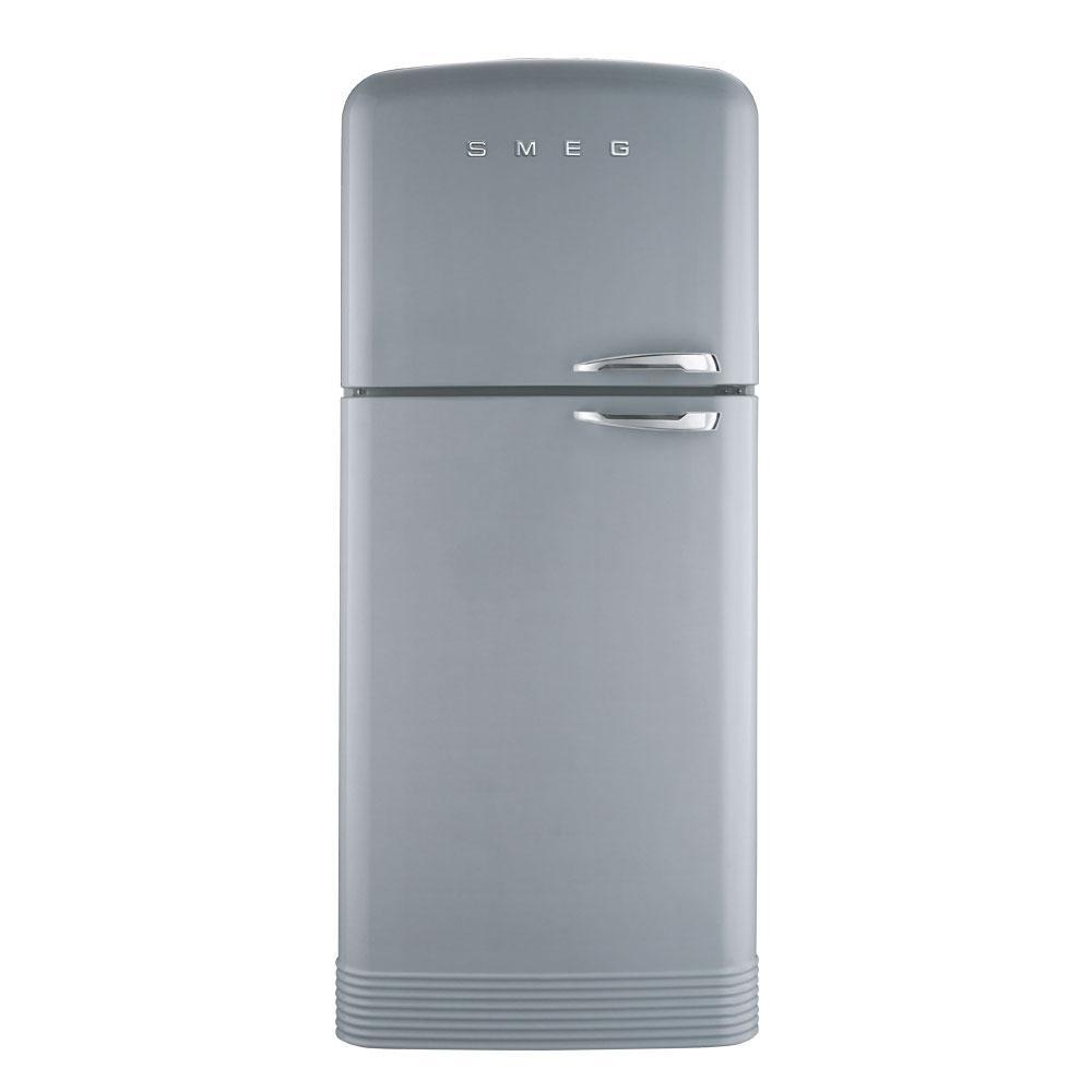 Отдельно стоящий двухдверный холодильник, стиль 50-х годов Smeg FAB50LSV серебристый