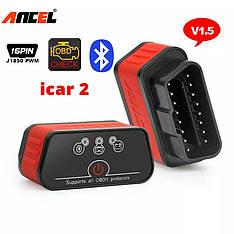 Диагностический автосканер Ancel OBD2 ELM327 v1.5 Bluetooth для Android красный