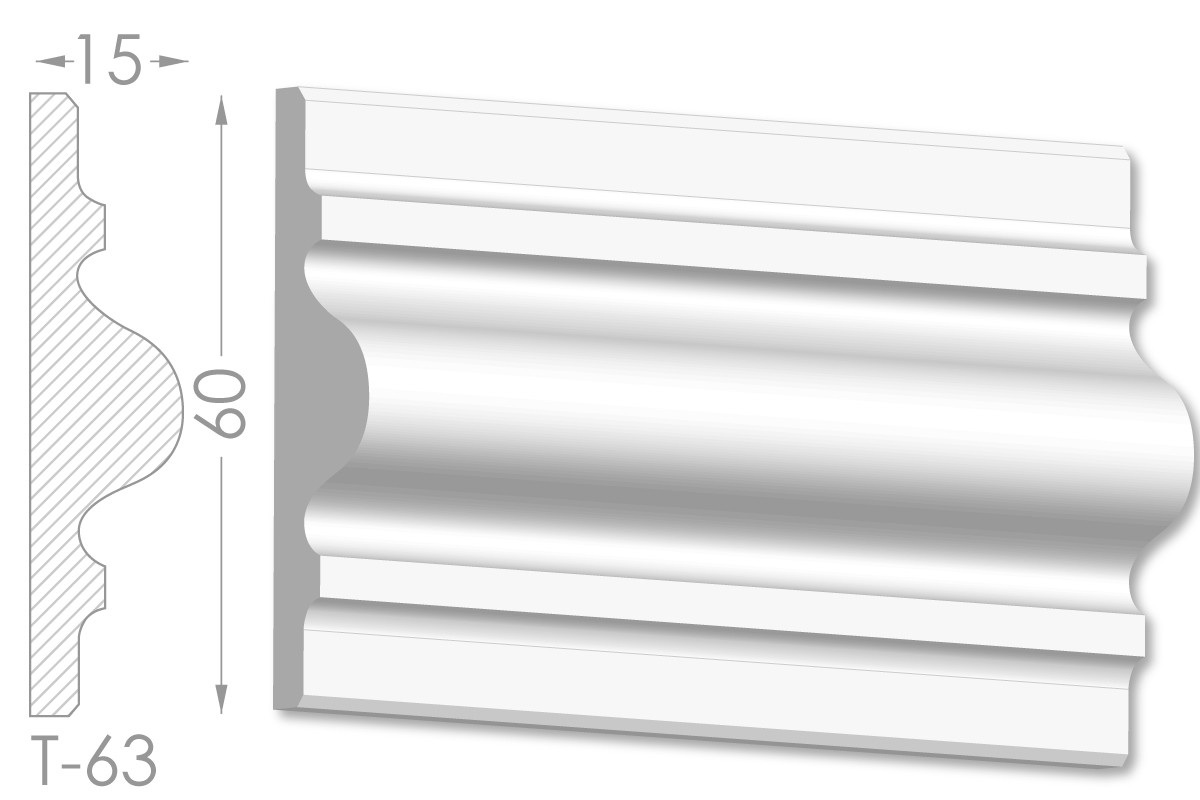 Декоративный молдинг, плинтус, фриз, тяга с гладким профилем из гипса т-63