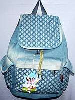 Текстильные рюкзаки оптом ДЖИНС 27*39 (голубой)
