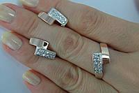Набор женских украшений из серебра с золотыми вставками