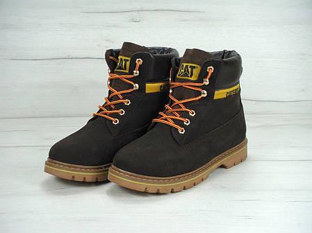 Зимние мужские ботинки Caterpillar коричневые топ реплика, фото 2