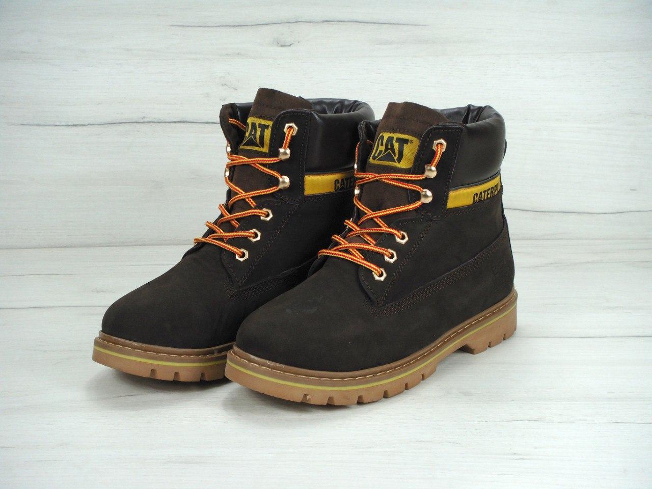 Зимние мужские ботинки Caterpillar коричневые топ реплика
