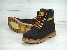 Зимние мужские ботинки Caterpillar коричневые топ реплика, фото 3