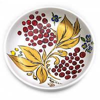 Тарелка белая, роспись, липа (d - 20см.,h - 3см.)
