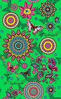 Ткань полотенечная вафельная набивная арт.143528 (ЗИН) 1763-2 зелён. 40СМ