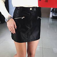 Женская модная юбка-шорты из эко-кожи