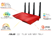 Роутер Asus RT-AC87U_R 802.11ac, Dual Band, Gigabit, 1xUSB 3.0, 1xUSB 2.0 Red