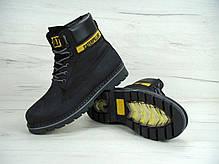 Зимние мужские ботинки Caterpillar черные топ реплика, фото 2
