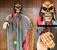 """Кукла """"Череп"""" 1.5 м подвесная (смех, двигается, горят глаза) декорация на хэллоуин"""
