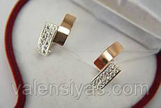 Серебряные женские серьги с фианитами и золотом