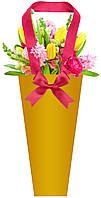 Бумажная сумка для букетов и горшечных цветов золотая