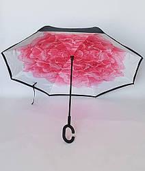 Зонт женский наоборот «Лепестки Роз»
