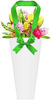 Бумажная сумка для букетов и горшечных цветов белая с зеленым