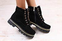 Зимние ботинки, черные, замшевые, на тракторной подошве, с модным замочком посредине, на меху